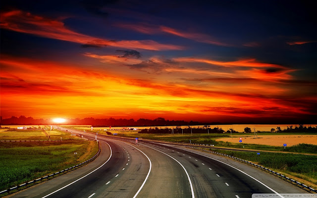 highway, sunset, high quality wallpapers
