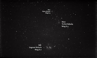 lagoon nebula and trifid nebula