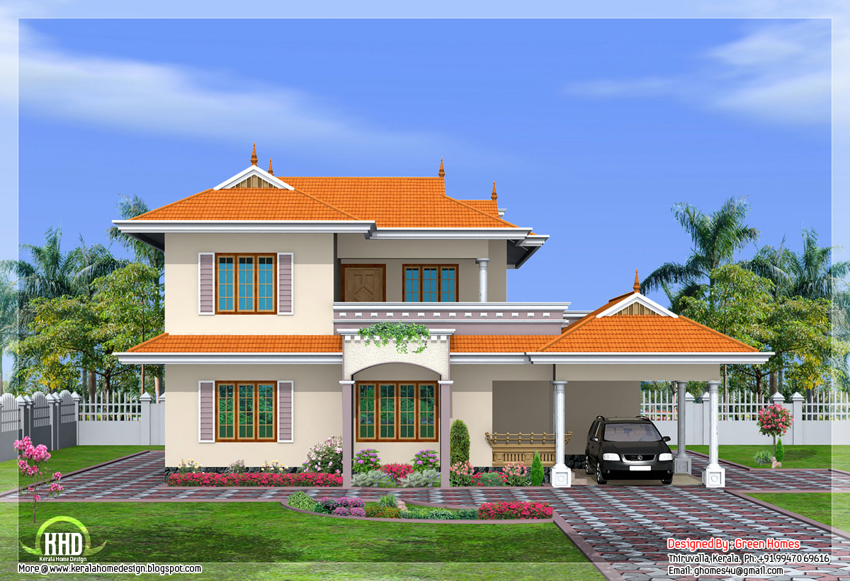 4 bedroom india style home design in 2250 kerala for Indian house portico models
