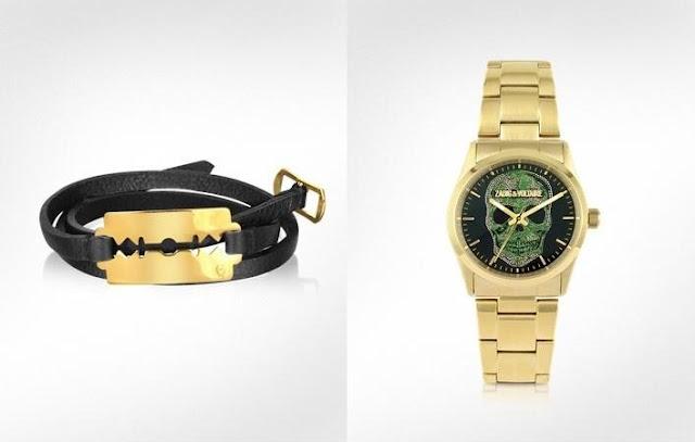 Alexander McQueen Razor Triple Leather Bracelet, Zadig &Voltaire Gold Steel Skull Watch