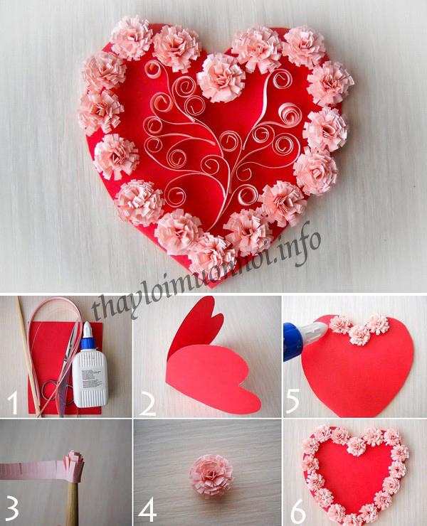 cách làm thiệp giấy cuộn hình trái tim tặng bạn trai