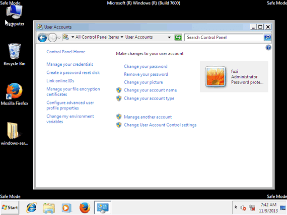 reset windows 7 admin password in safe mode