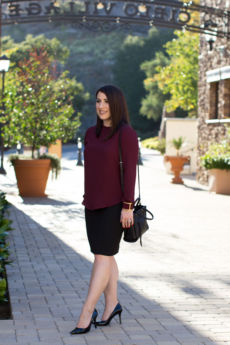burgundy lou and grey top, nine west heels, work outfit ideas
