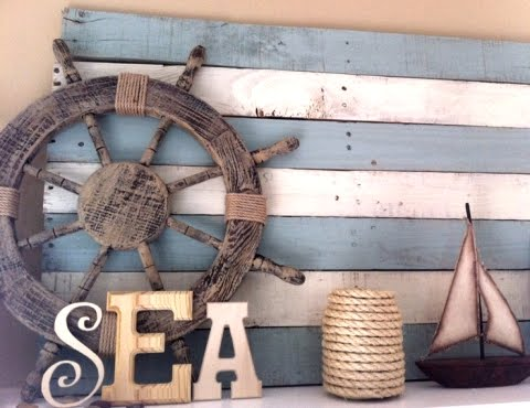 a wood pallet is transformed into a beach sign with saying by whimsy by the sea original source no longer available - Diy Beach Decor