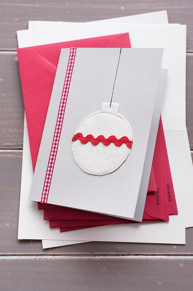 felt bauble card sewn on with ricrac