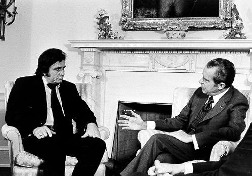 Johnny Cash with US President Richard Nixon