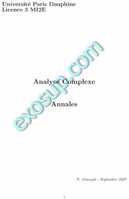 analyse complexe:30 exercices corrigés univ-paris-diderot