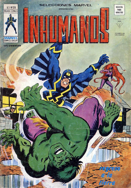 Portada de Los Inhumanos y Hulk-Selecciones Marvel Volumen 1 Nº 20 Ediciones Vértice