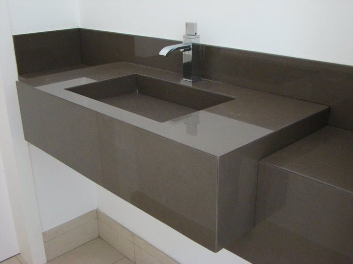Meu Palácio de 64m² Tampo em porcelanato -> Pia Para Banheiro De Porcelanato