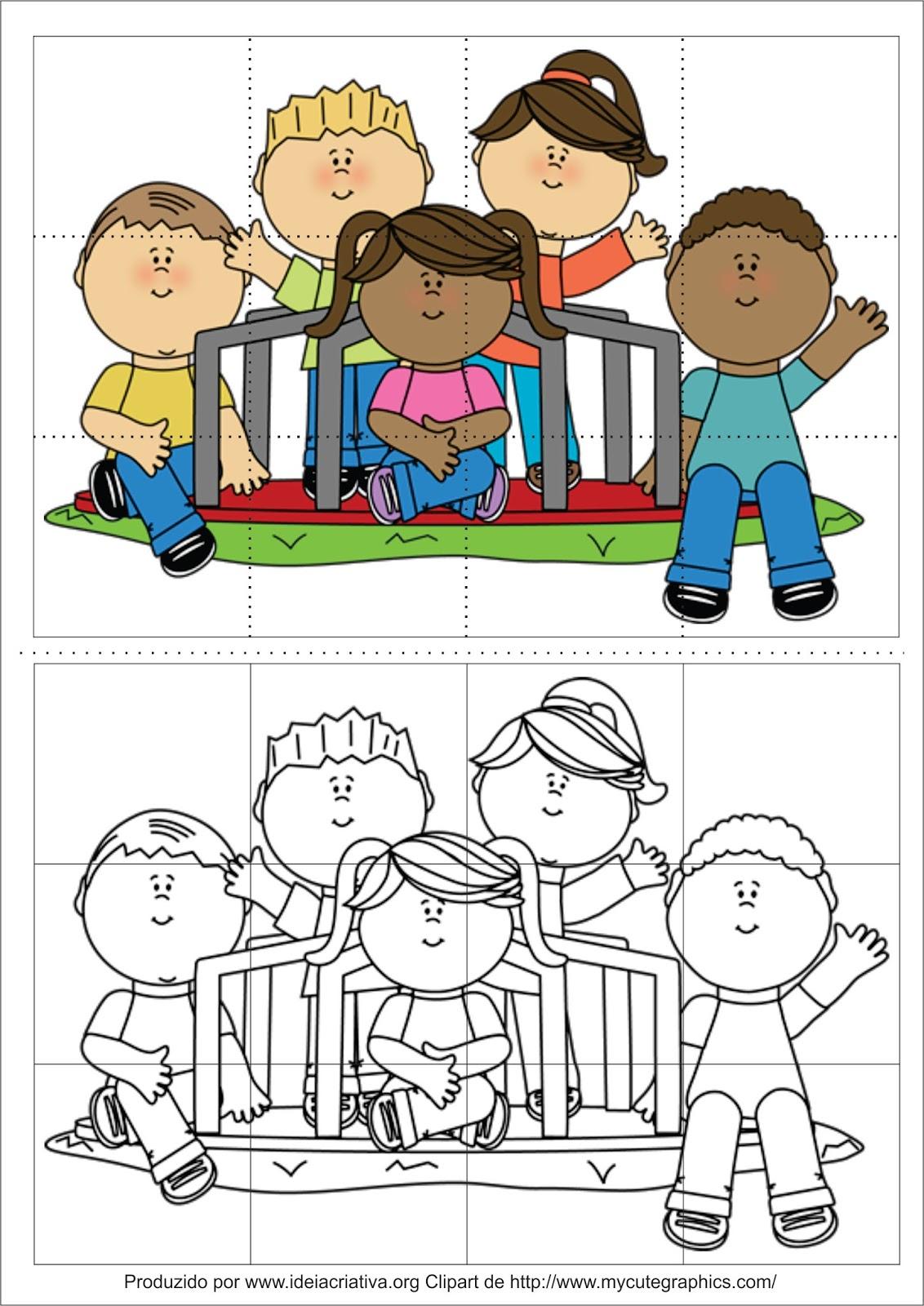 Quebra-cabeça para recortem e colagem Dia das Crianças Educação Infantil