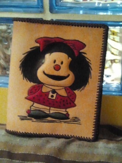 cuero, mafalda, artesanal, funda, libro, ebook, carpeta