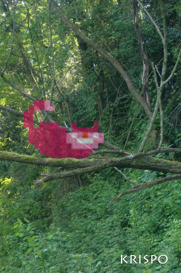 gato de cheshire semi aparecido pixelado encima de rama