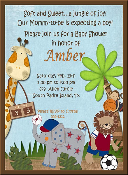 baby shower invitations jungle baby shower invitation