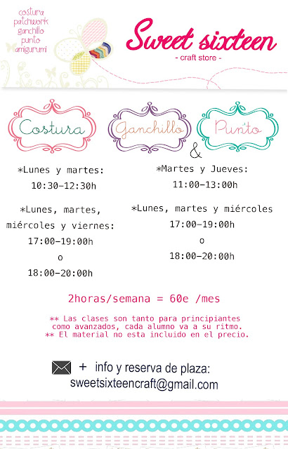 Clases continuas Punto, costura y ganchillo en Sweet sixteen craft store.