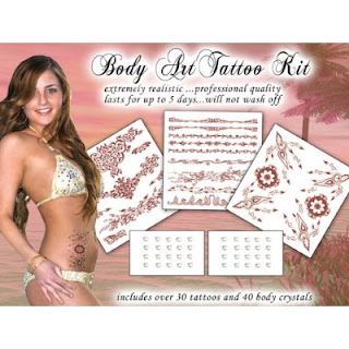 Henna Body Art Crystal and Tattoo Kit