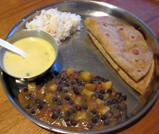 Gujarati meal - Kadhi, chana bataka nu shaak, roti and rice