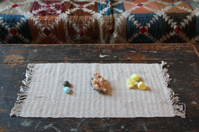 wardens lisa diquinzio michael leblanc toronto apartment interior blanket box coffee table sulphur rocks stones quilt