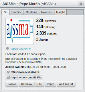 Imagen de la ficha de la cuenta de Twitter de AISSMa a través de HootSuite, al 02/05/2011