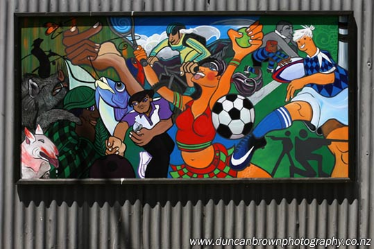 Community art in Bay View, part of a six-panel mural by Jil of Aotearoa (Jil Sergent) and Ruby Moon Dog. photograph