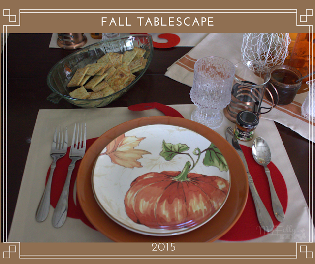 Fall Tablescape, using linen and plates from Dollar Tree and Better Home and Garden plates
