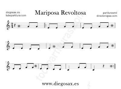 Mariposa revoltosa partitura para flauta, violín, saxofón alto, trompeta, clarinete, soprano sax, tenor, oboe, corno inglés, barítono, trompa, fliscorno... en clave de Sol