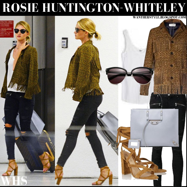 Rosie Huntington-Whiteley in leopard print Saint Laurent suede jacket with black Paige Denim Ramone jeans, brown sandals and grey Balenciaga tote what she wore august 6