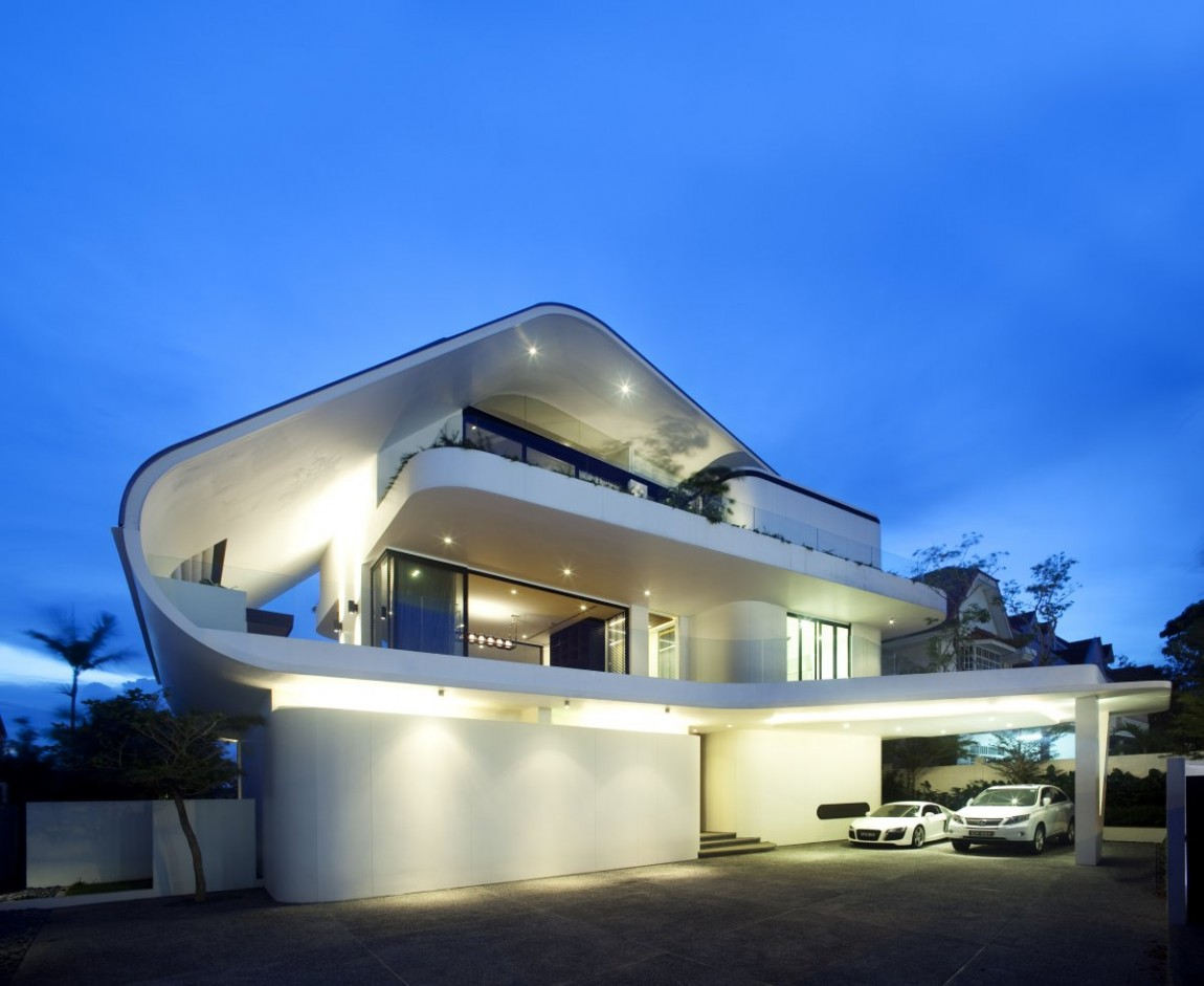 World of architecture modern mansion defined by curves Modern house columns
