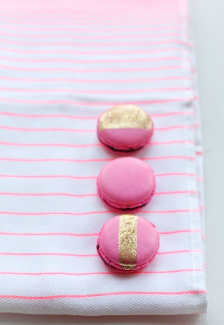 gold accented french macarons