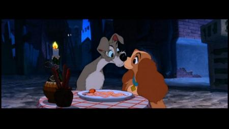 Lady and Tramp kissing Lady and the Tramp 1955 animatedfilmreviews.blogspot.com