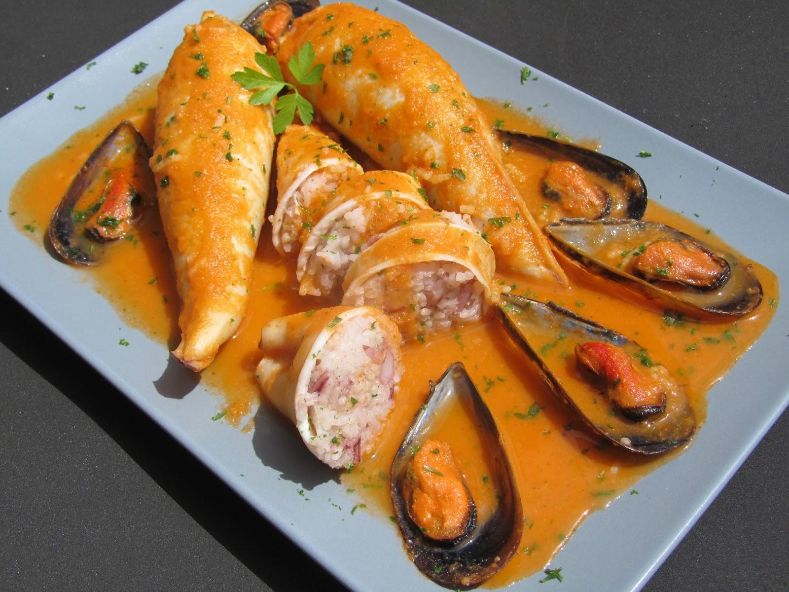 Calamares rellenos de arroz thermomix - Salsa para calamares rellenos ...
