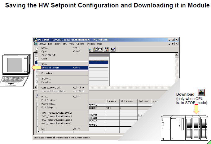 Saving the HW Setpoint Configuration and Downloading it in Module