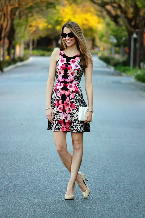 Floral-print dress + nude pumps