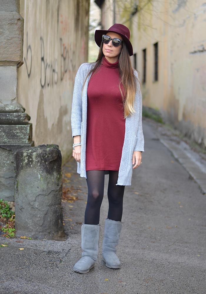 mini abito rosso bordeaux