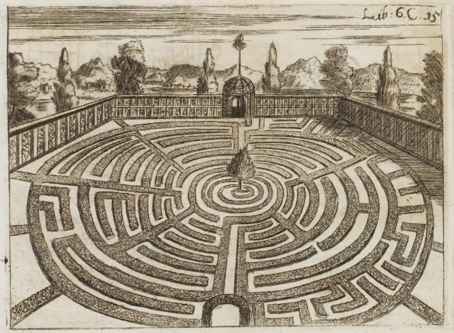 17th century engraving - labyrinth garden in walled enclosure