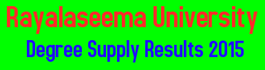 Rayalaseema University Degree Supply Results 2015, Rayalaseema University, Manabadi Results