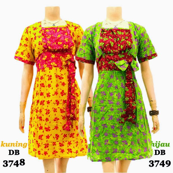 DB3748-3749 Model Baju Dress Batik Modern Terbaru 2014