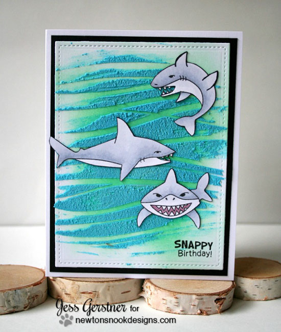 Shark Week | Happy Birthday Shark Card by Jess Gerstner | Shark Bites Stamp set by Newton's Nook Designs