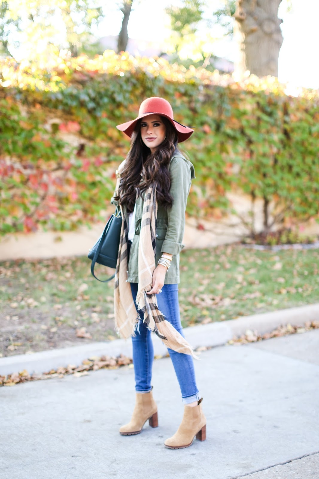 fall outfit idea, pinterest fall ootd, how to style a utility jacket, best white v neck tee, tory burch tote dark green, tory burch booties, AG jeans ripped knees, AG jeans reviews, Emily gemma, the sweetest thing, michael hors watch with black face, gold michael hors watch with black face, david yurman bracelet stack, burberry scarf dupe, burberry scarf look a like, fall outfits with booties & jacket, nordstrom floppy hats, orange floppy hat