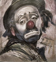 sad clown bust in charcoal and sepia