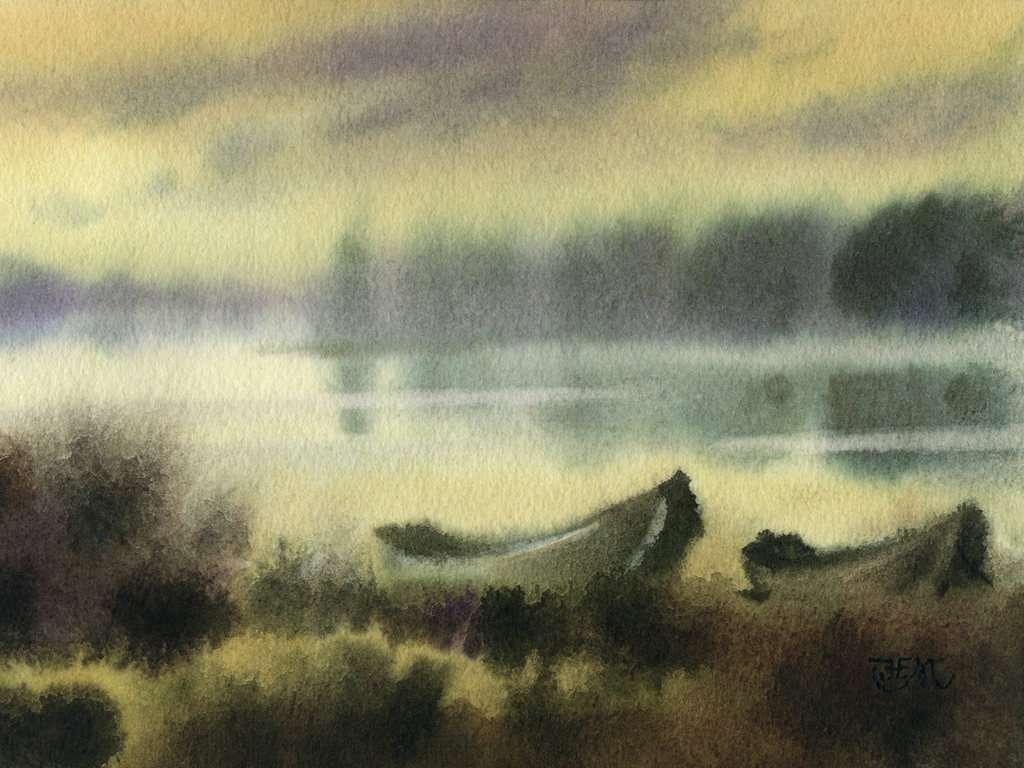 Galery Lukisan: Lukisan Perahu Di Tepi Sungai