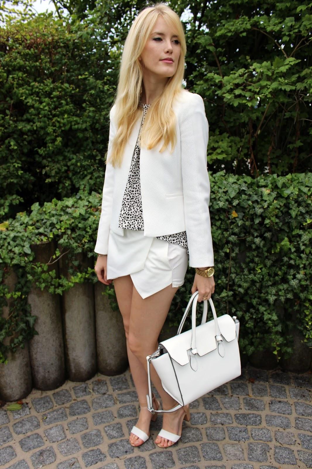 How to style White Allwhite TheBlondeLion Zara Skorts Blazer