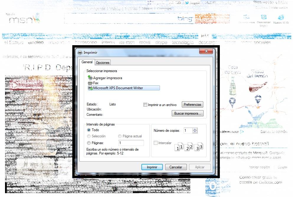 ventana emergente para imprimir página de Internet Explorer