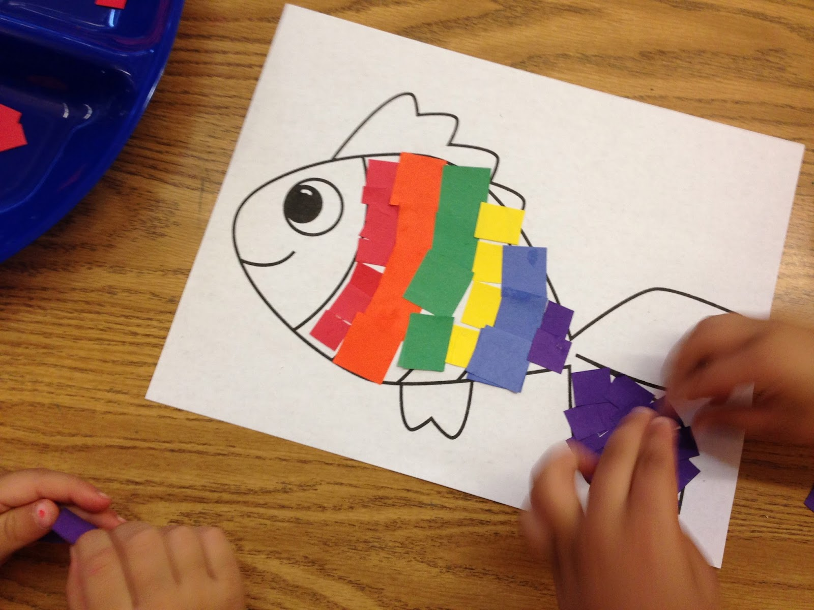 rainbow fish, collage art, paper art, cooperative learning, kindergarten art, Like Skills, friendship