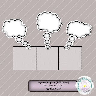 Thought Bubbles Scrapbooking Page Template *{{Freebie}}*