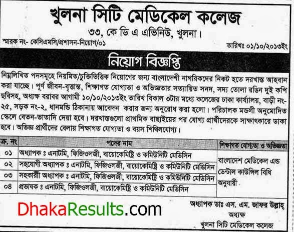 Khulna City Medical College Jobs Circular for Professor Lecturer