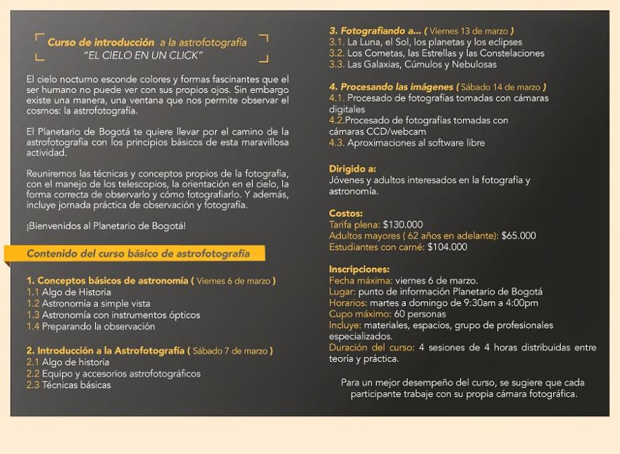 Curso de Astrofotografía en Bogotá
