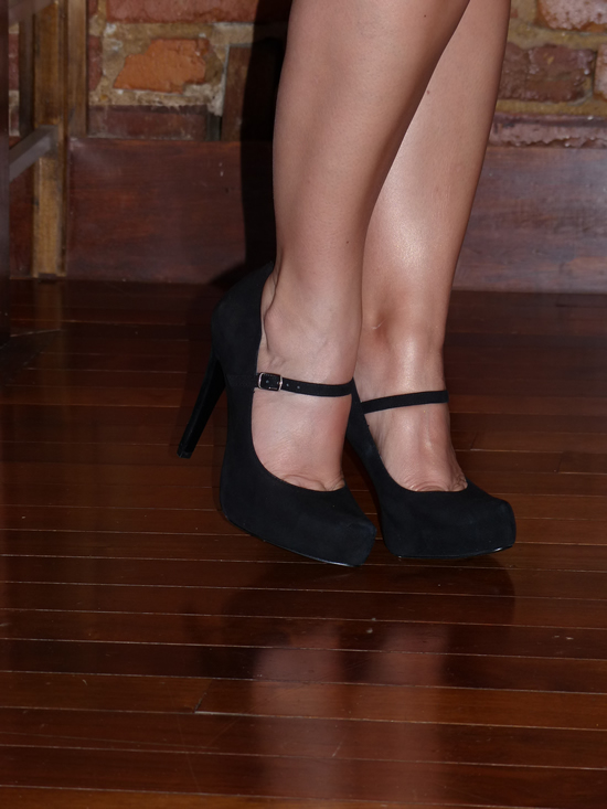 BCBGeneration Black Suede Paulie Platform Pumps and tan legs thanks to Lorac TANtalize