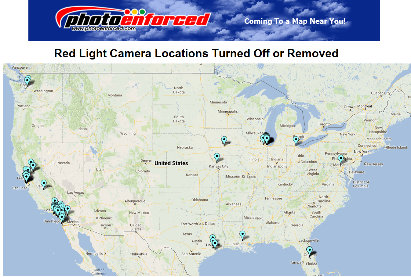 Enforced Map of Cities That Have Removed Red Light Camera