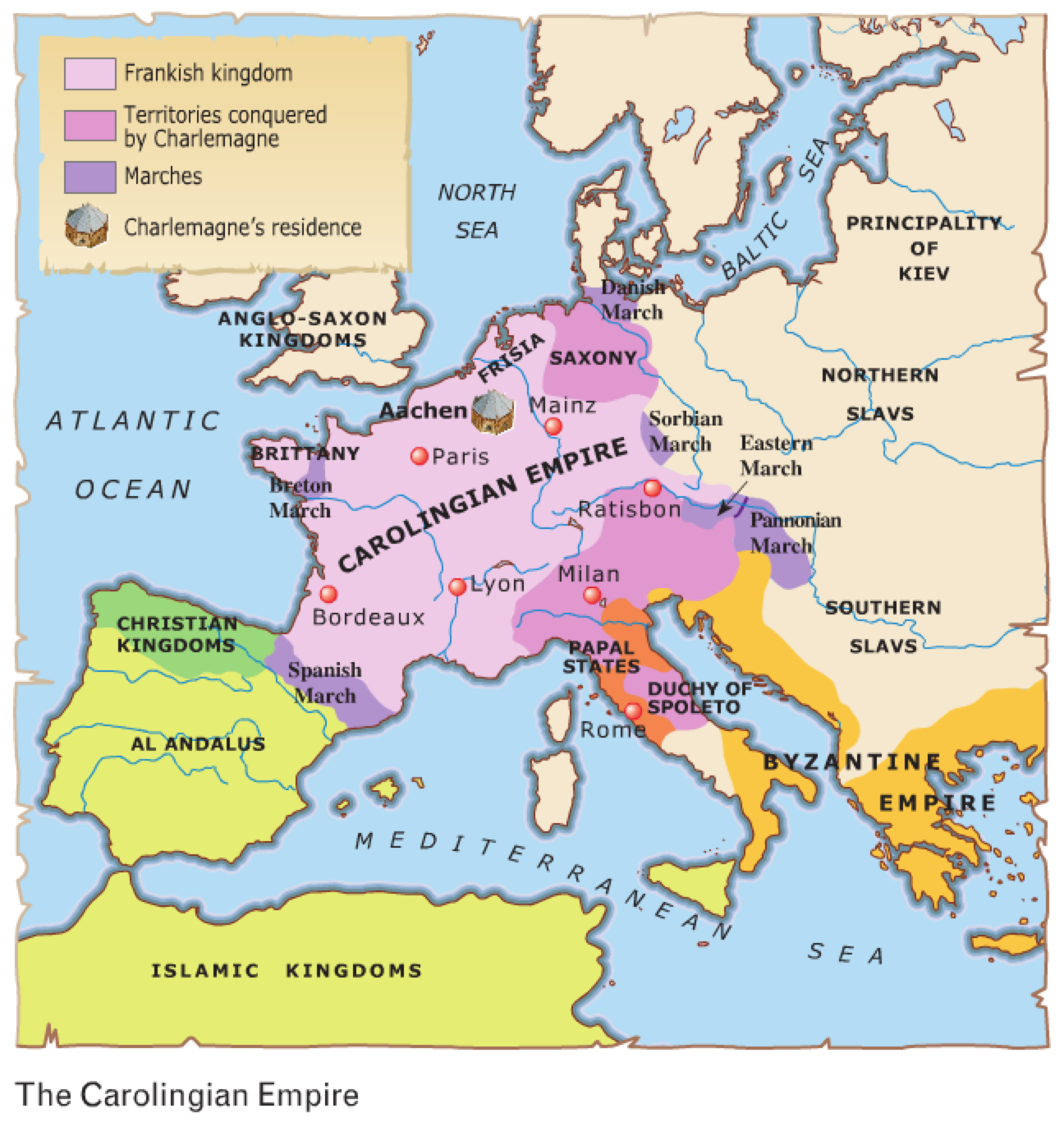 charlemagne son of pippin the short then conquered the lombards in italy and the saxons in germany these events made france a strong and secure kingdom
