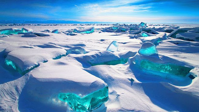 amazing Turquoise Ice at Northern Lake Baikal, Russia, ice formation